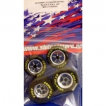 Mid-America - MAR6761BSBGY - Complete drag tire set. Anodized Black and then the Barrel is machined back to natural leaving a two tone finish (slot car)