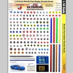 UltraCal - UCD3106 - Silver Racing Number Roundels HO Slot Car Vinyl Decal